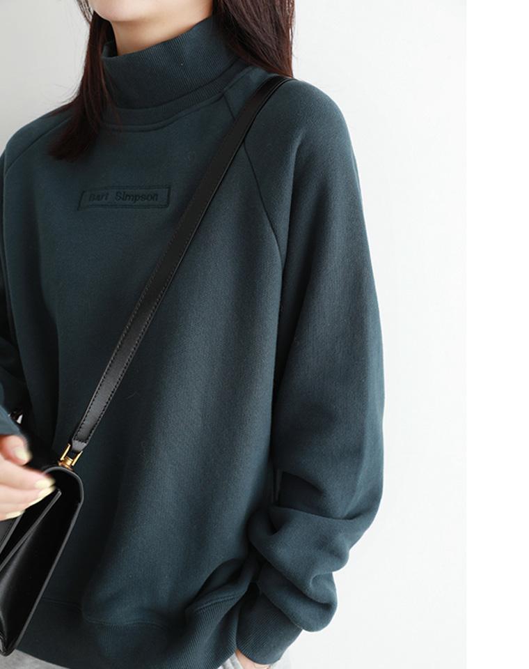 超级实穿 气质百搭  仅128元  纯色拼接字母 刺绣加厚加绒假两件半高领精致卫衣