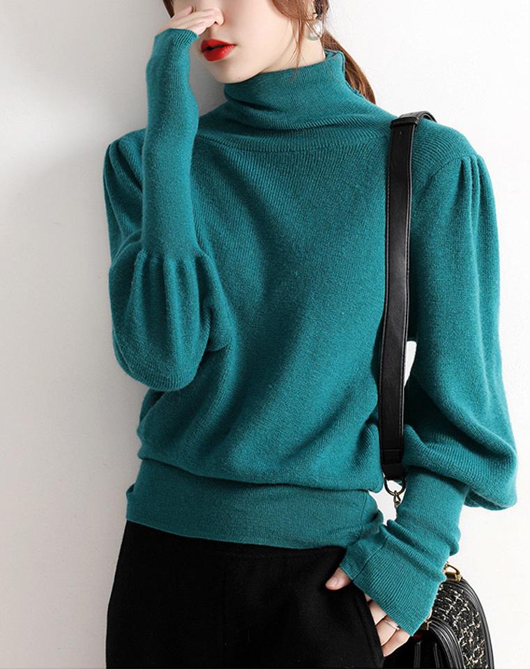 增加造型感!复古回潮 仅168元  欧式宫廷风鸡腿袖高领羊毛针织衫打底毛衣