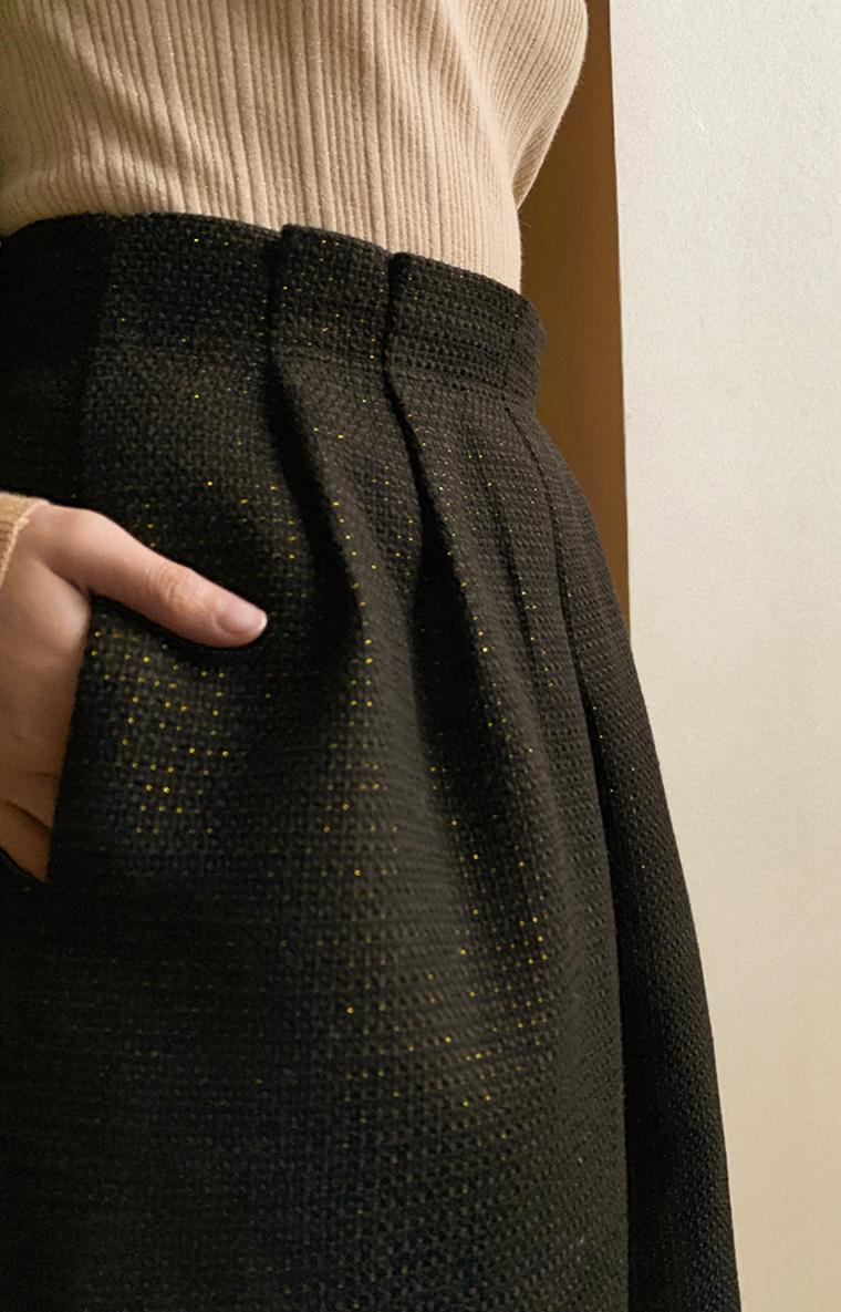 花苞小礼裙!减龄时尚造型满分~仅155元  显瘦显高挑!精致嵌闪中裙半身裙