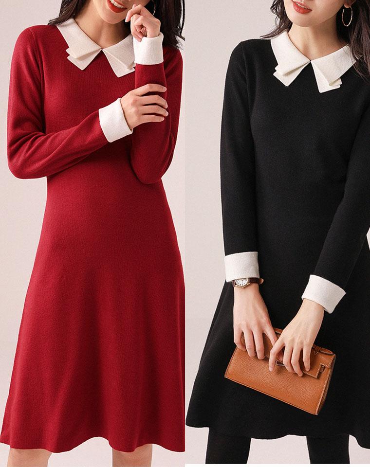 10分显瘦  惊艳版型的延续 仅198元  含羊毛撞色领针织连衣裙