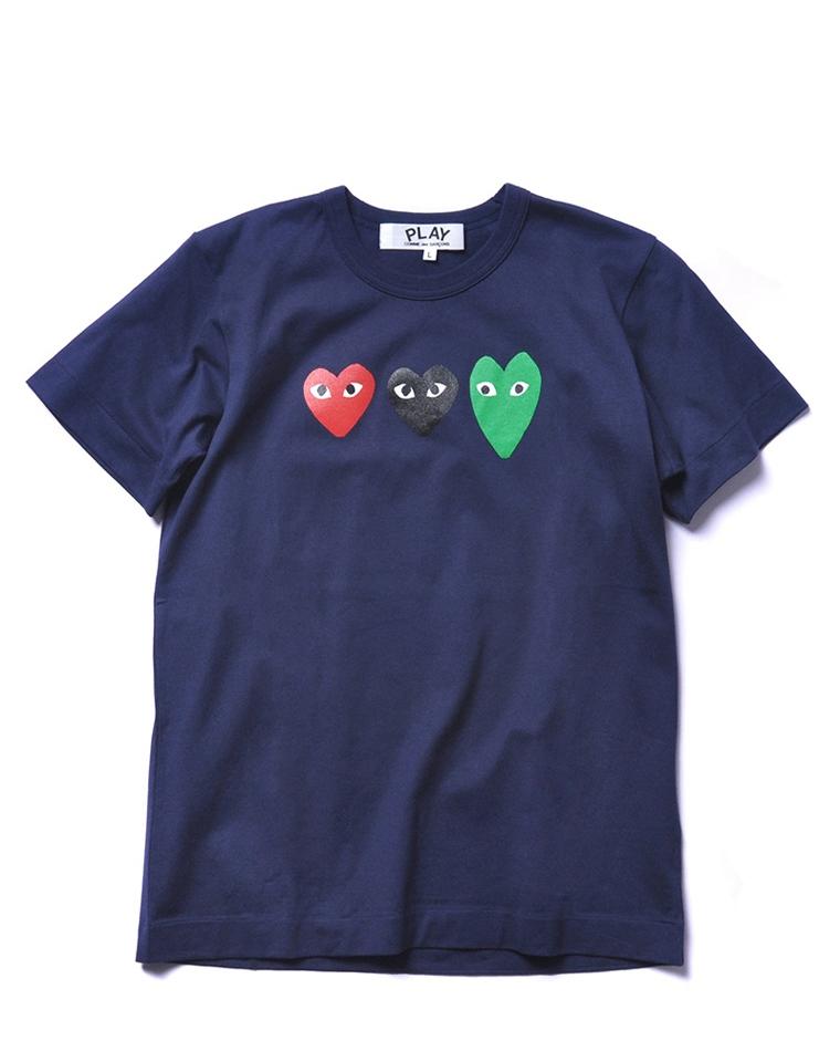 度假风清新限量款  仅68元  CDG PLAY 川久保玲2020最新   红绿桃心 纯棉短袖T恤