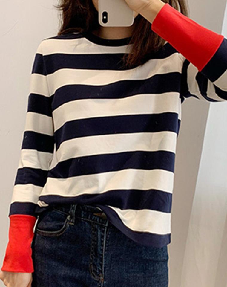 撞色的红袖子 高端好货  给亲绝不一样的条纹 仅138元  客供棉质感条纹T恤