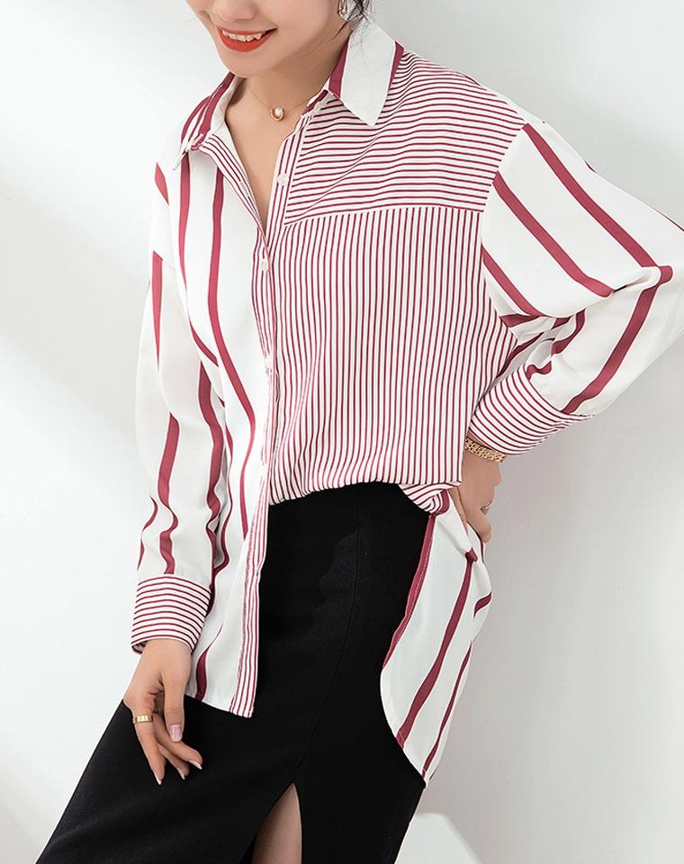 有品会穿衣  仅108元  粗细撞色条纹  2020小众品牌设计师  宽松显瘦前短后长 长袖衬衫
