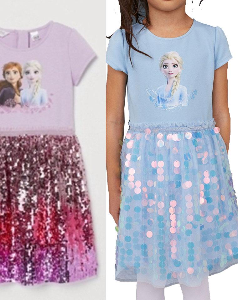 圆孩子的公主梦  仅75元  艾莎bling女童纯棉拼接公主裙