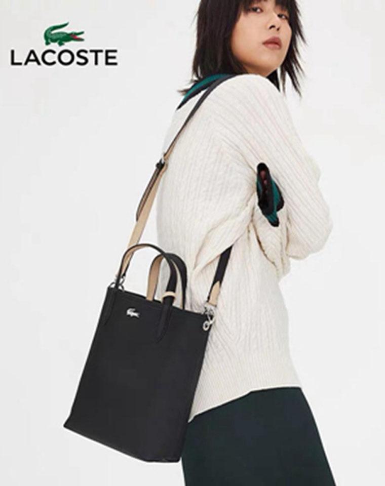 双面可用  一顶俩   仅185元 法国LACOSTE 鳄鱼纯正原单 净色日式 精工 双面子母手提包  斜挎包