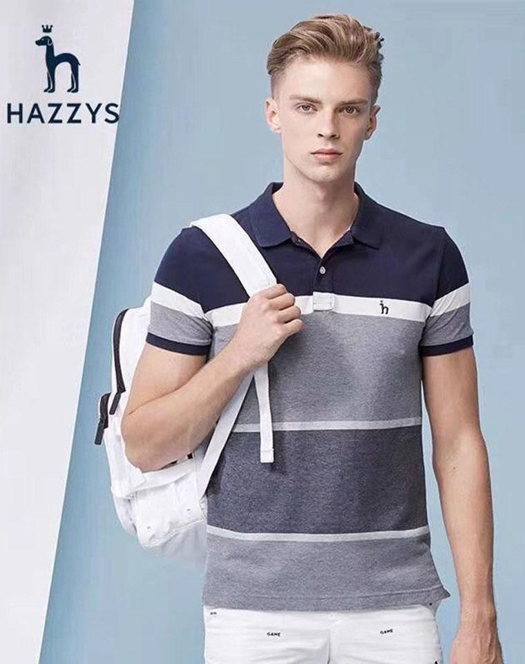 给纯爷们的好货! 仅99元  HAZZYS哈吉斯 纯正原单  翻领条纹短袖POLO短袖衫