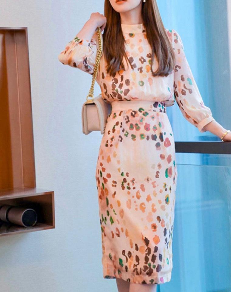 唯美女主  爱的迫降   仅195元 高端外贸出口尾单  系带蝴蝶结印花雪纺连衣裙