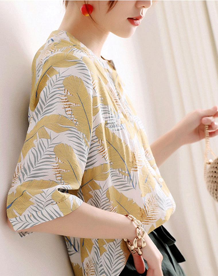 小众设计感  仅148元  天丝棉 舒适小立领  棕榈叶印花上衣工装衬衣中长罩衫