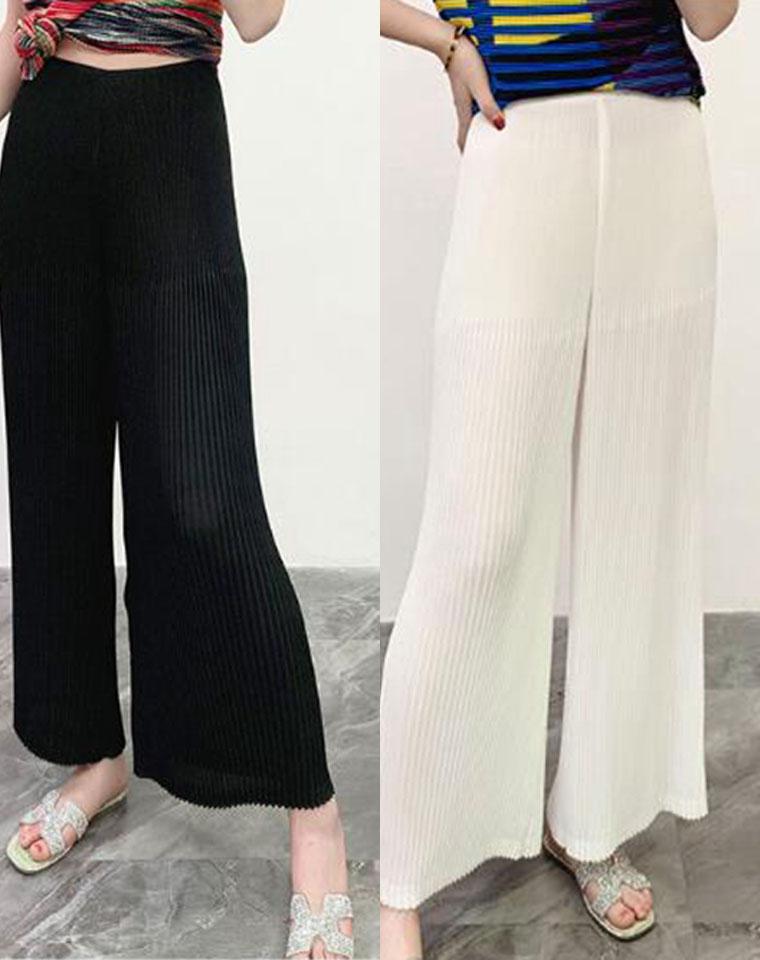 超得体还凉爽的一条  三宅褶皱系列  仅158元 垂感佳气质百搭 压褶松紧腰 褶皱阔腿裤