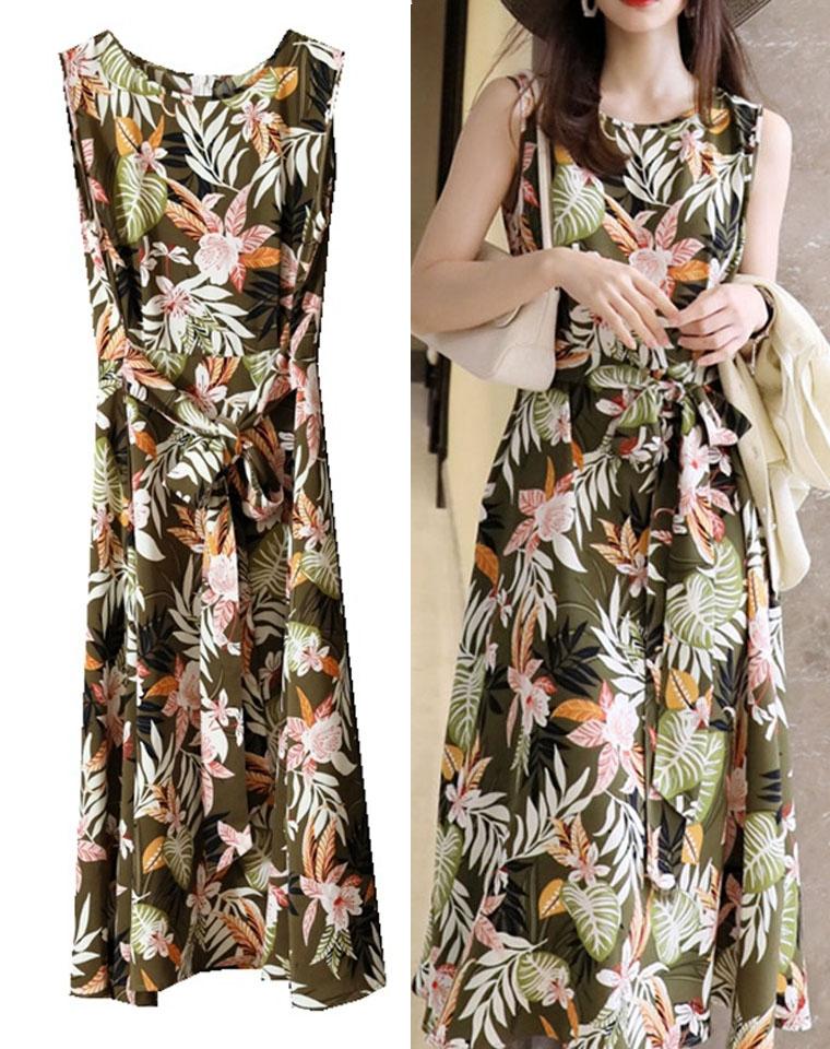凡尔赛花园!敲显白  仅169元  舒适VISCOSE 花卉印花   度假风  无袖连衣裙