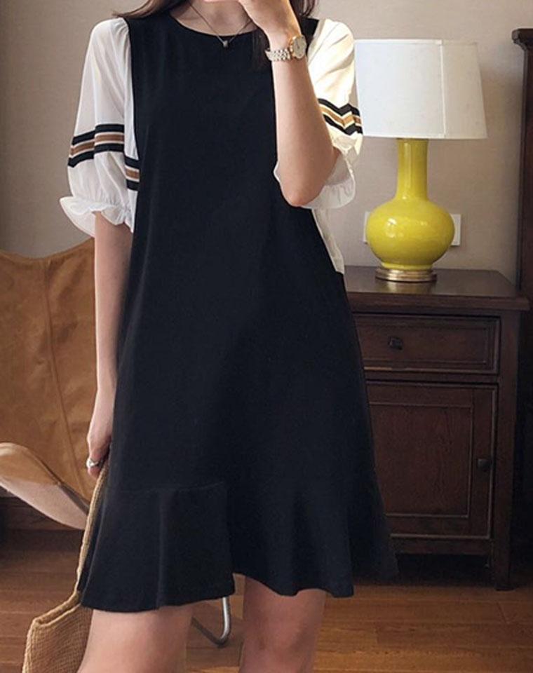 老粉这款别错过!!超减龄!仅148元  空气袖 法式chic 小众荷叶边裙摆 拼接中袖连衣裙