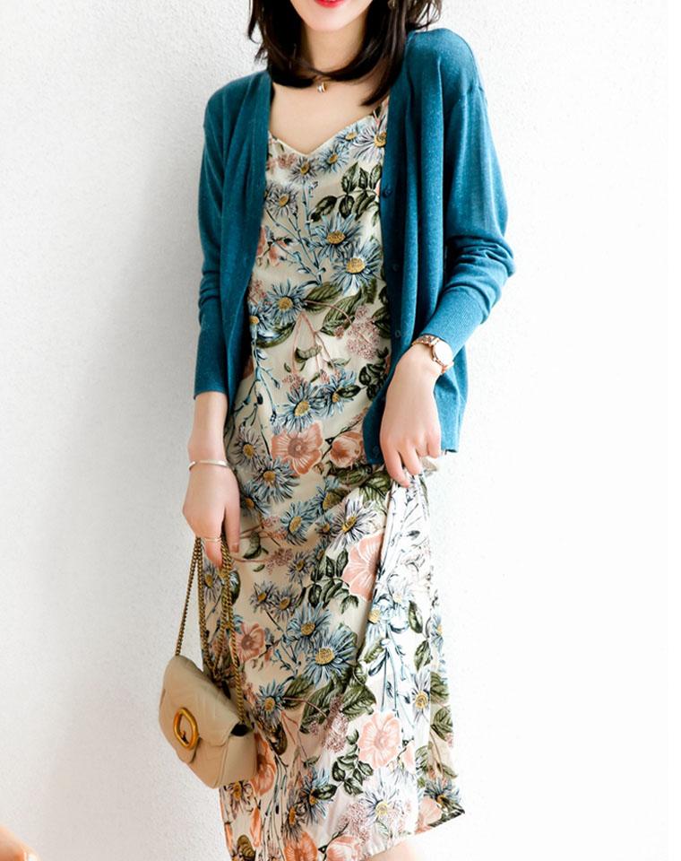超美!得意之作! 仅185元  值得收藏~3D立体植绒烧花 吊带  度假叠穿内搭连衣裙