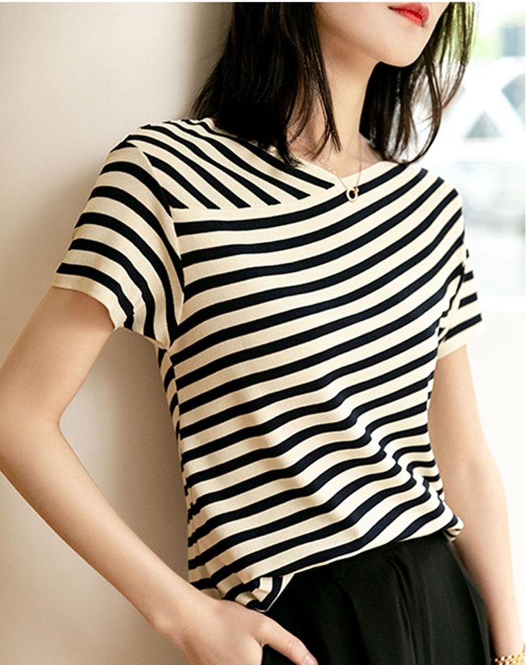 品质    显瘦就是它!解构条纹  仅128元  黑白条纹针织衫短袖T恤上衣 2020新款