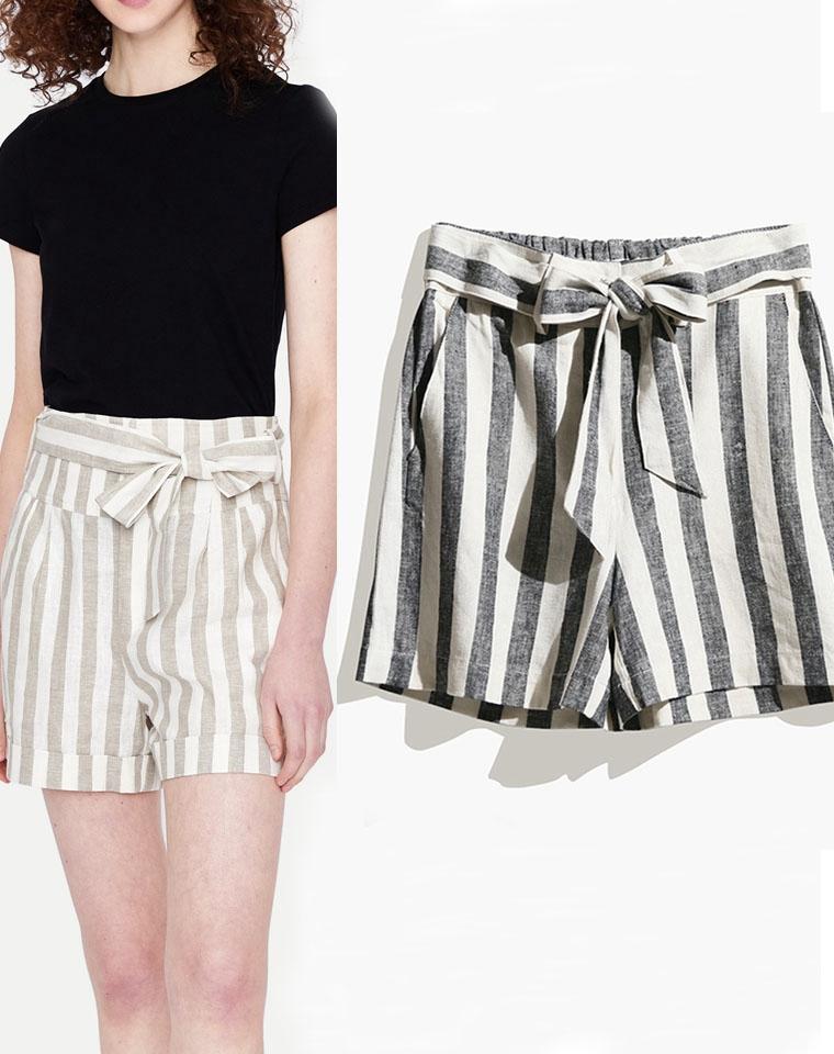 品质  最养人的亚麻  仅55元  法国纯正原单  竖条纹 高腰舒适透气亚麻裤 显瘦阔腿短裤