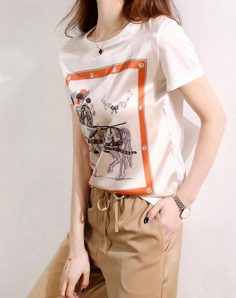品质   轻奢复古范儿  仅128元  真丝印花短袖 2020年夏新 清爽宽松气质 上衣