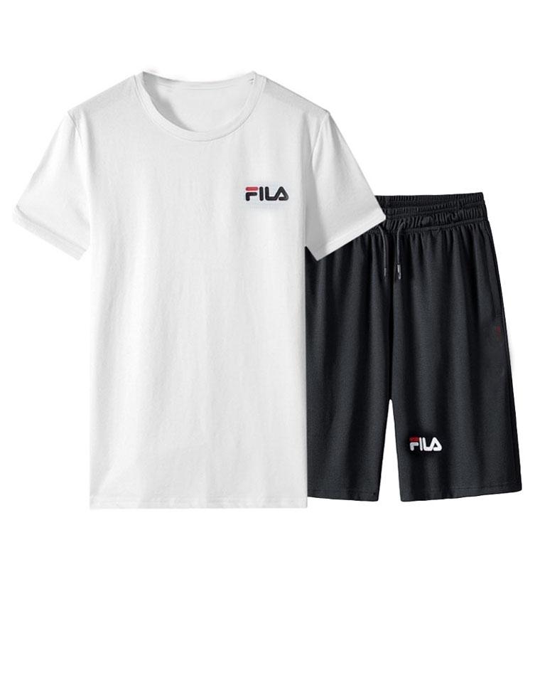 给纯爷们の超值好货  透气速干套装   仅79元  FILA斐乐纯正原单 透气大网眼  字母LOGO短袖短裤套装
