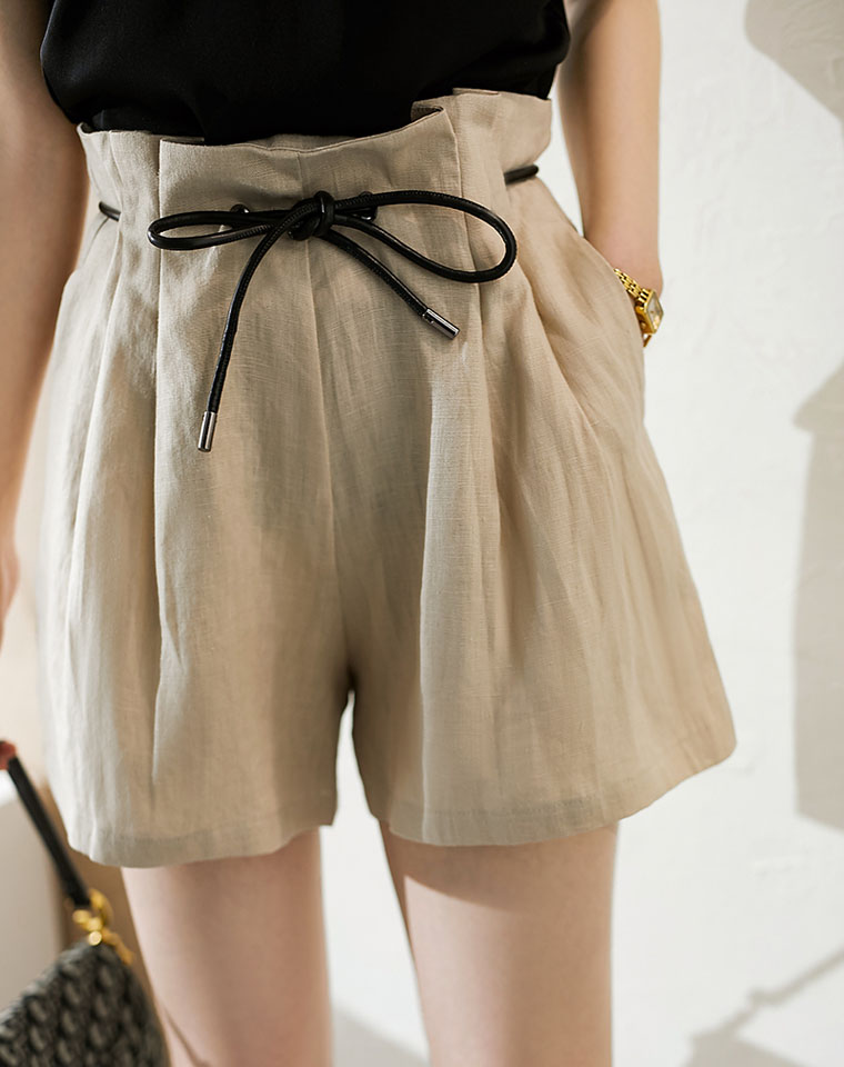 高腰线拉伸曲线 多种系带法 仅98元   亚麻高腰短裤 巨舒服  巨显下半身长