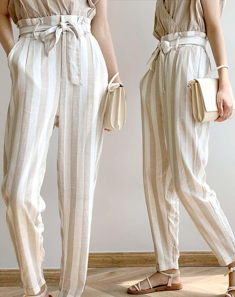 最养人的亚麻 洋气条纹  仅58元   德国订单  撞色条纹系带收腰 亚麻长裤