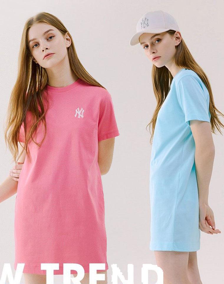 色系敲好看  清新又高级 超洋气  仅69元  NY洋基队纯正尾单  品质纯棉  简洁Logo  H型宽松连衣裙