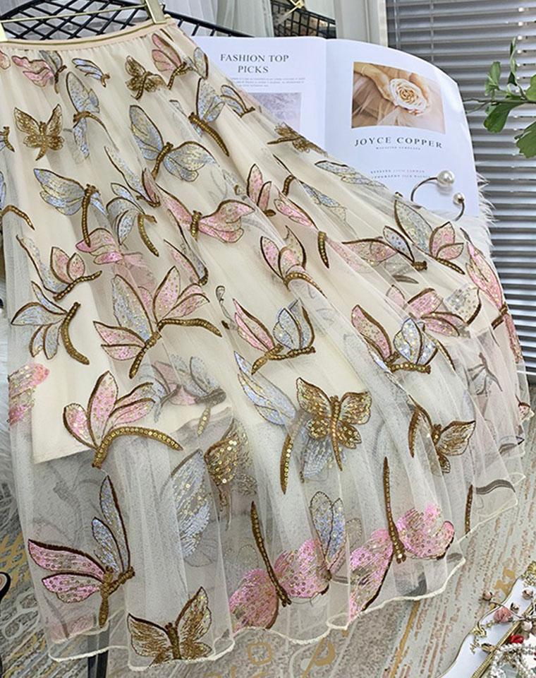 比商场500+还要好!!仅185元  重工亮片刺绣半身裙 新款垂感网纱裙中长款a字裙超仙长裙