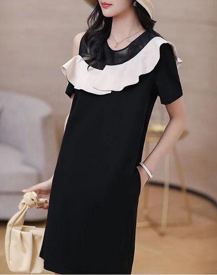 轻奢温婉  气质女人   仅118元  maje纯正原单 法式荷叶边拼接露肩小黑裙 A字下摆连衣裙