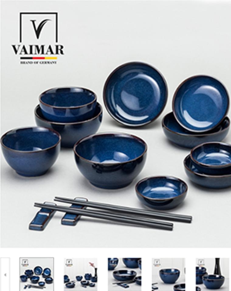 高端窑变釉 可以进微波炉和烤箱 仅95元  韩国Vaimar纯正原单  陶瓷碗碟14件厨房餐具套装日式吃饭碗筷子筷托