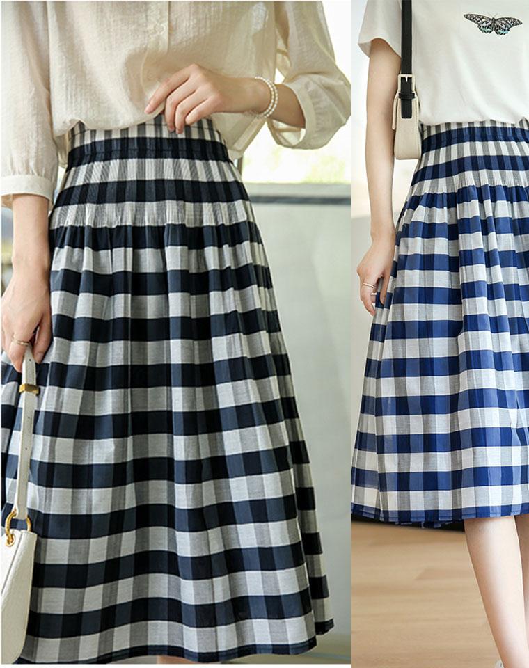 两面可穿!日本品牌定制面料 仅128元  超显瘦的欧根纱格纹通勤半身裙女A字伞裙
