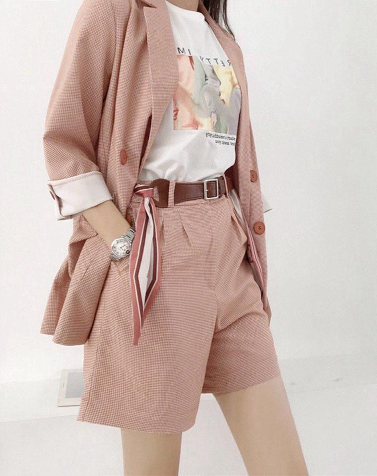 秋款第一波  仅99元  138元  伊芙丽2020新  秋装薄款西服桔粉色格子小西装  短裤 长裤 可搭配三件套装
