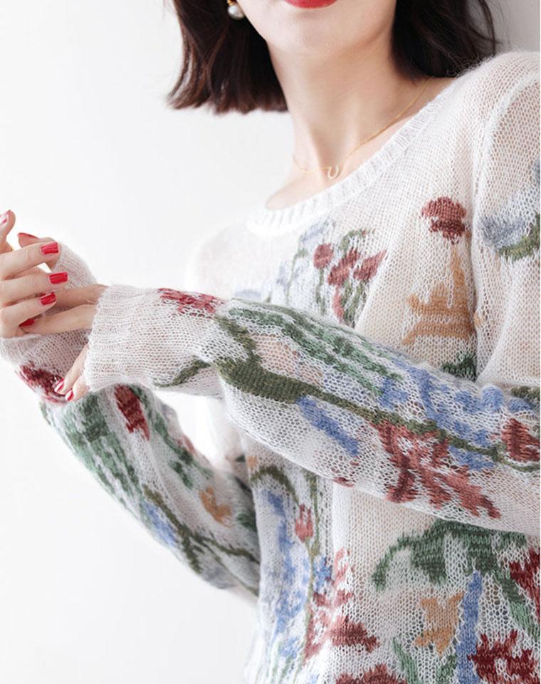 早秋设计师款  Chic爆了 仅198元  轻柔又慵懒的法式风  宽松显瘦马海毛花朵长袖薄款针织套头上衣