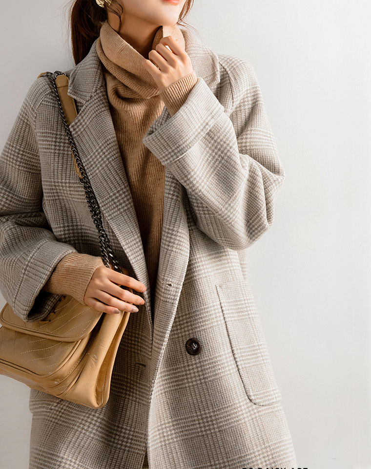 反季清仓福利 闭眼跟团!!仅268元 高端纯澳洲羊毛双面格纹  优雅格子直筒大衣