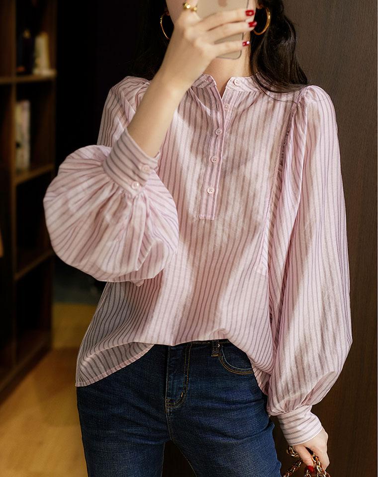 法式宫廷风色织条纹 仅138元  爽滑莱赛尔 立领灯笼袖衬衫
