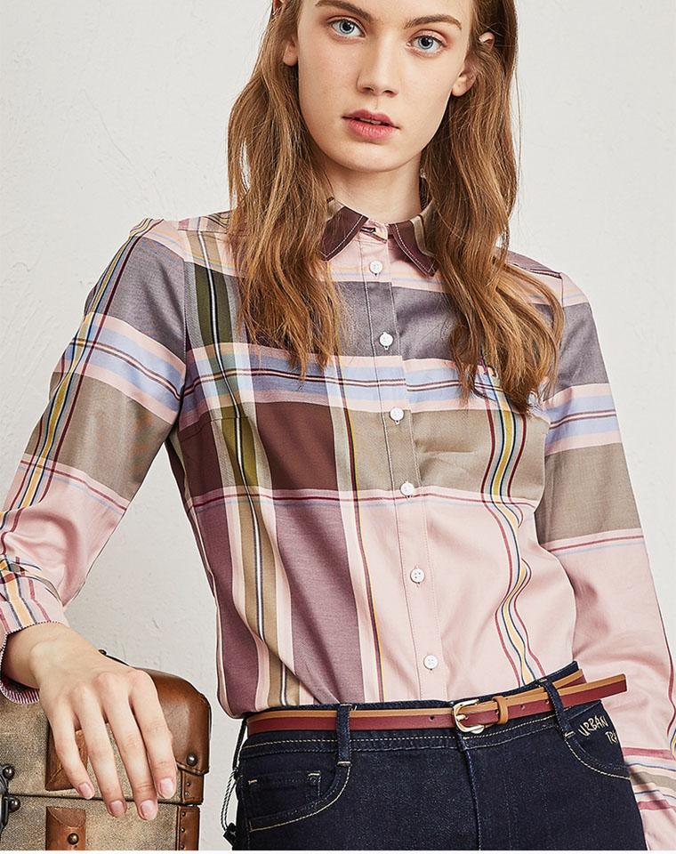 专柜千元  简直了  仅128元  Hazzys哈吉斯   2020秋款最新精致格子女衬衫
