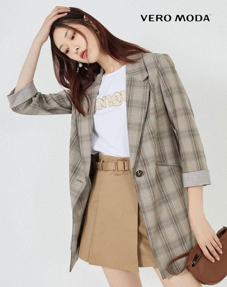 丹麦Vero Moda纯正原单 2020秋季新款 仅198元 韩版格子通勤薄款西装上衣外套