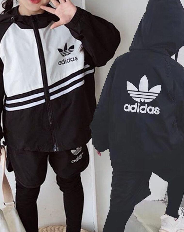 帅到炸裂!!男女童都好穿的套装哈!  仅119元  Adidas阿迪达斯纯正尾单一批   2020秋季新款 连帽外套