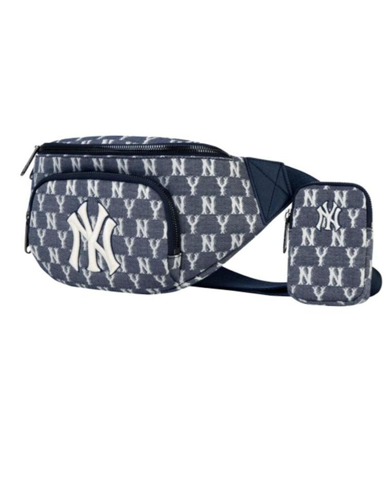 洋气满印男女款 仅149元起  MLB纯正原单  NY洋基队  LOGO刺绣NY牛仔蓝织花腰包相机包