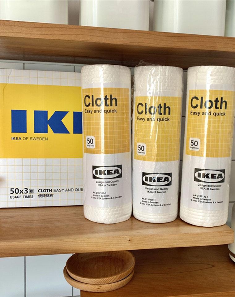 这个草必须拔!  仅29.5元3卷!!IKEA宜家  家用木纤维厨房抹布  家务清洁吸水不掉毛  去油一次性洗碗布 懒人抹布