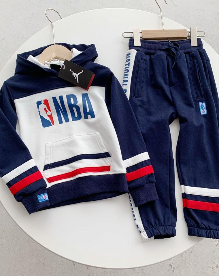 乔丹儿童NBA大logo连帽卫衣卫裤  仅118元 秋季新款套装中大童 拼色连帽卫衣卫裤休闲两件套
