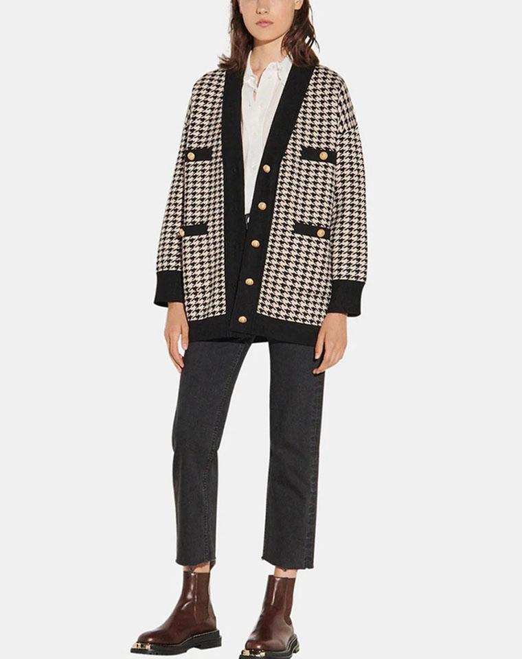 耐人寻味 仅185元  Sandro纯正原单  黑色米色千鸟格纹 小宽松显瘦廓形重磅针织外套