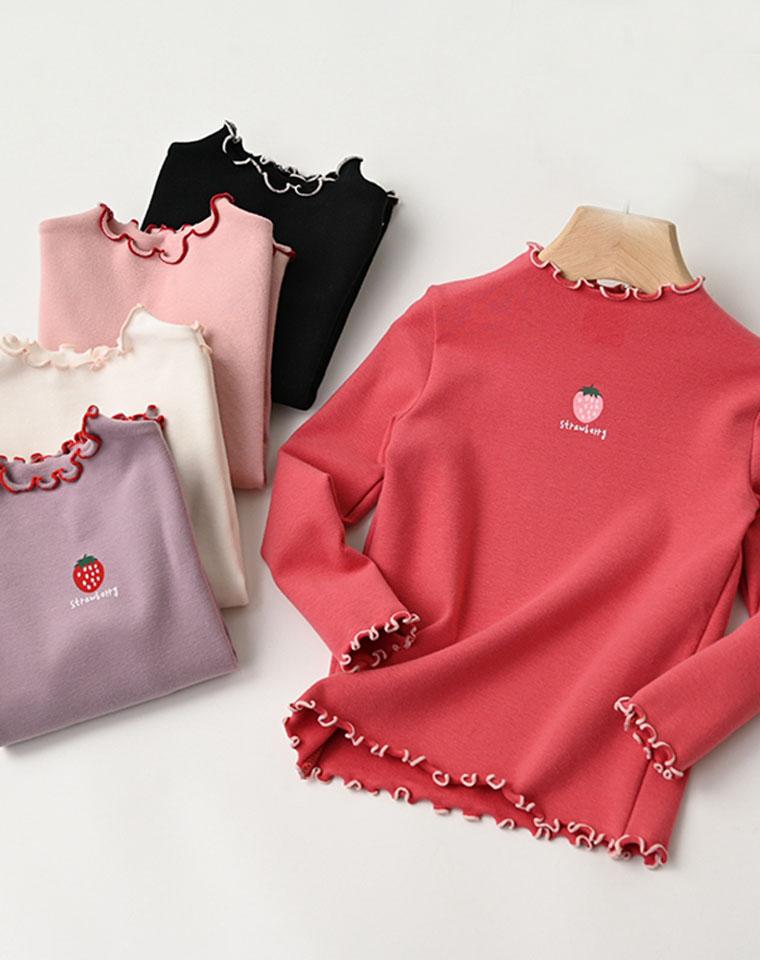 亲妈必收  太好穿!仅39元 可爱草莓公主卷边半高领 女童弹力打底衫中大童纯棉长袖T恤 童装