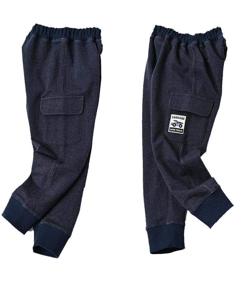 帅炸了!仅49元  儿童纯棉毛圈工装裤 男女童 卡通汽车长裤 软仿牛仔针织运动裤