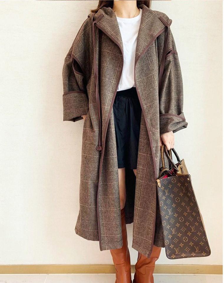 CELINE赛琳纯正原单  仅298元 神仙设计!女巫羊毛风衣外套长款连帽灰色细格纹毛呢羊毛外套大衣