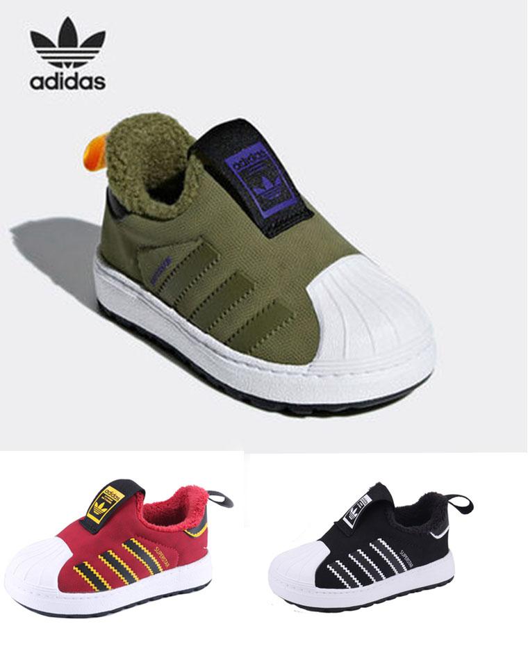 亲妈必收!!断码福利!贝壳头加绒哒~~仅69元  adidas阿迪达斯三叶草纯正原单   加绒贝壳头童运动鞋