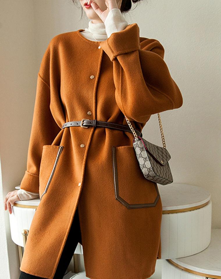门面担当 100%羊毛双面呢  仅488元 2020秋冬 宽松百搭系腰带  气质中长款大衣 羊毛双面呢外套