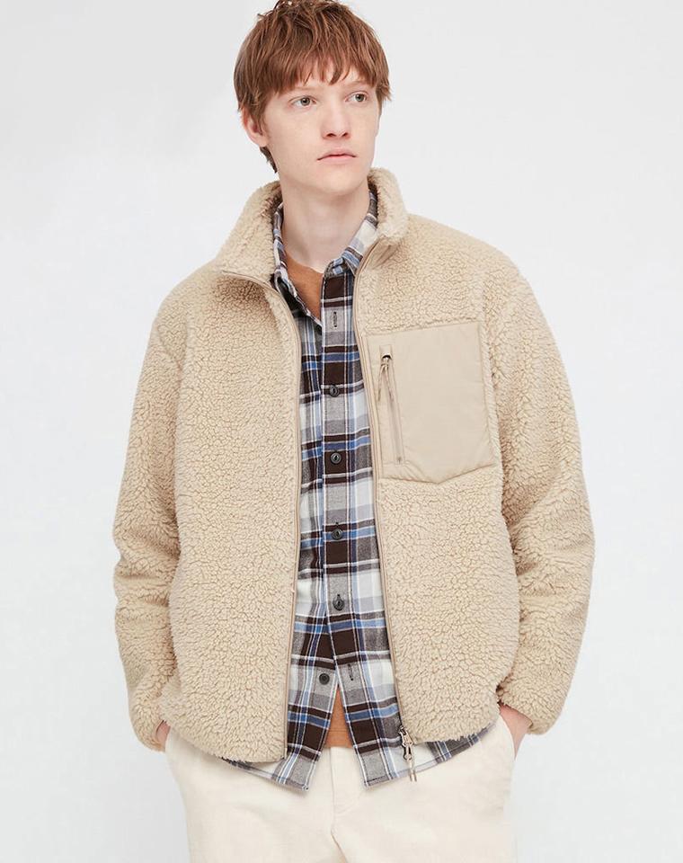 御寒神仙颜值  男女款  仅138元  UNIQLO优衣库纯正原单   仿羊羔绒+摇粒绒立领夹克外套