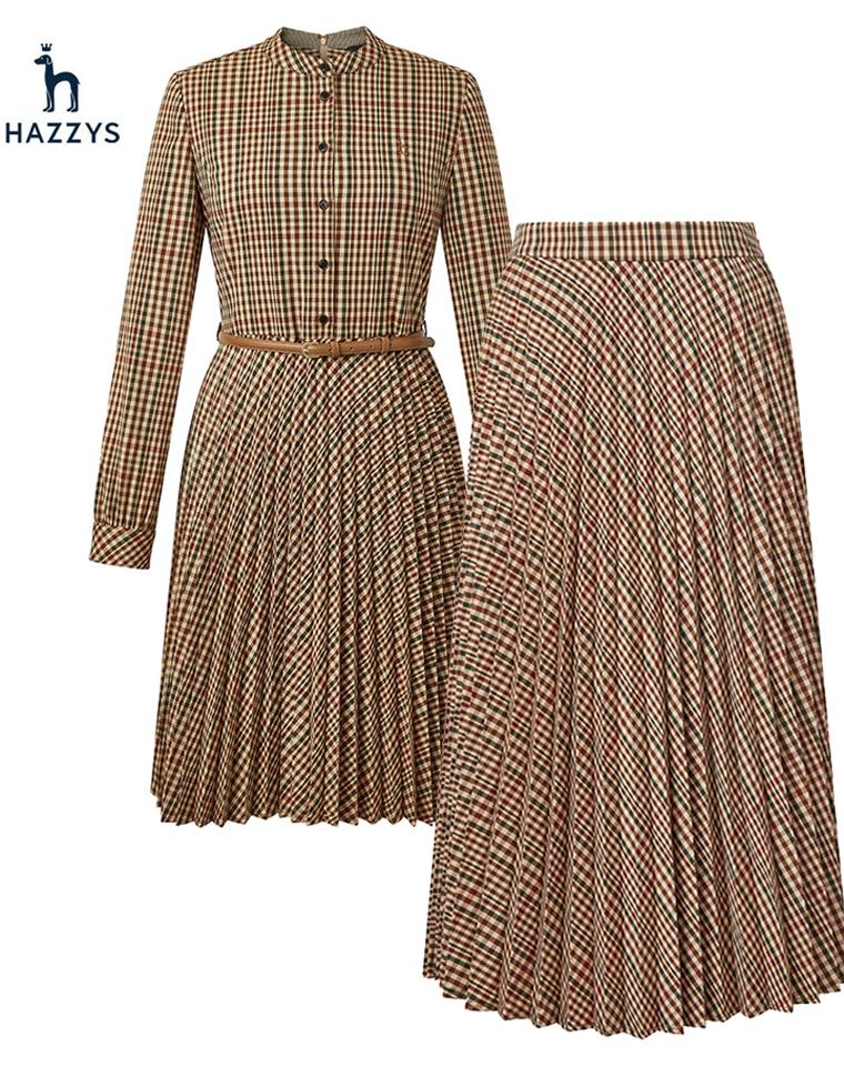 气质款 Hazzys哈吉斯纯正原单  仅169元  229元20秋季新款 百褶半裙 连衣裙