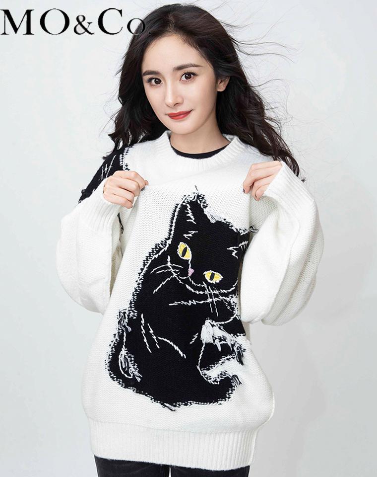 杨幂同款 MO&CO纯正原单  仅168元 2020冬款宠猫系列提花针织毛衣女