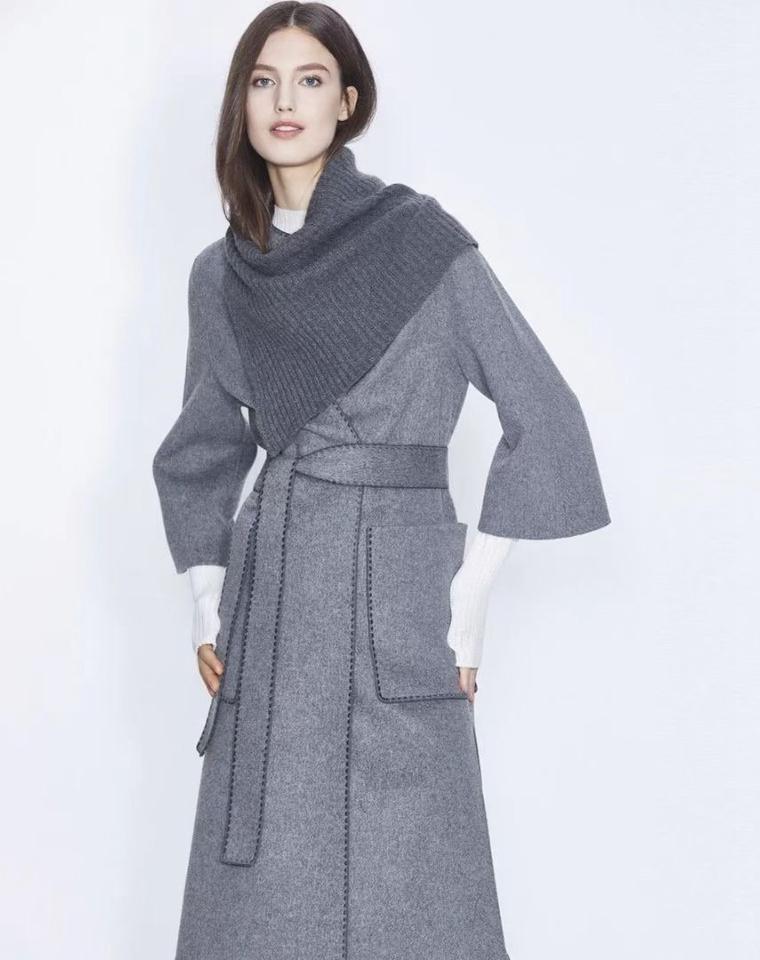 凹造型 羊毛呢子大衣女中长款 仅698元 可脱卸羊毛围脖凹造型 双面呢外套女秋冬