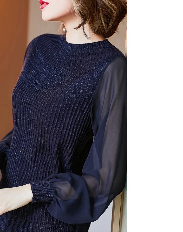 贵气单品 性感小惊艳 仅185元  女人味十足 通透网纱袖 拼接半高领弹力亮丝针织衫