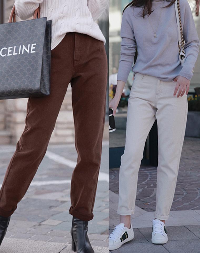 复古时髦调 超高衣品  仅118元   内里加绒高腰舒适显瘦直筒牛仔裤 加绒裤