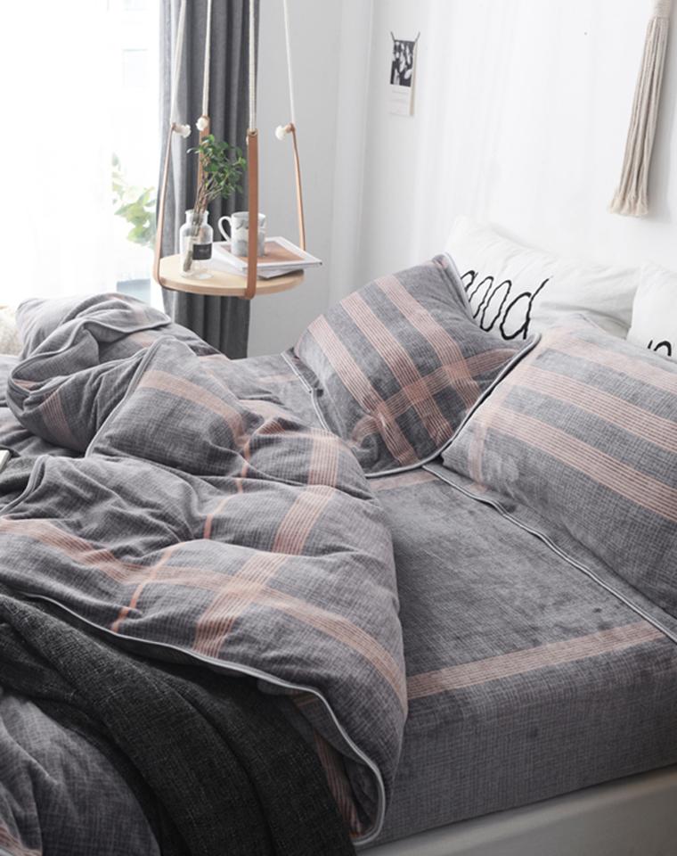 给你暖被窝! 软软的 可裸睡 抗静电 仅168元  仅185元  北欧风 牛奶绒法莱绒冬新款床品四件套秋冬